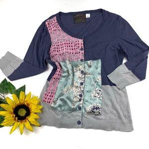 Guinevere Silk Cotton Color block Cardigan Sweater